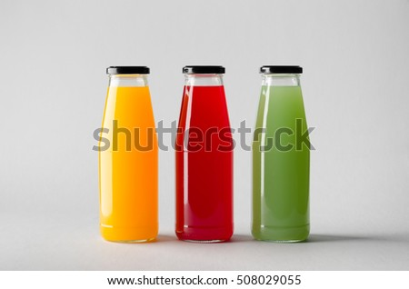 Juice Bottle Mock-Up - Three Bottles #508029055