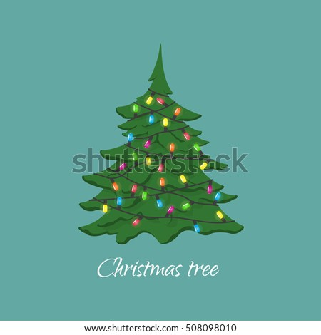 Christmas tree with garland. Decorating for Christmas and New Year. Vector illustration #508098010