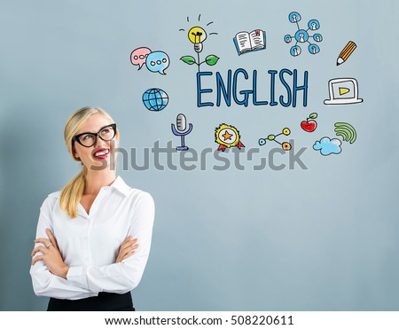 English text with business woman on a gray background #508220611