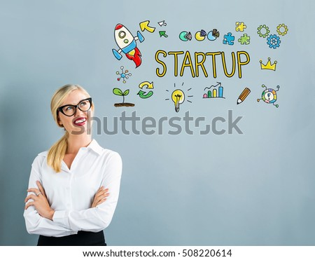 Startup text with business woman on a gray background #508220614