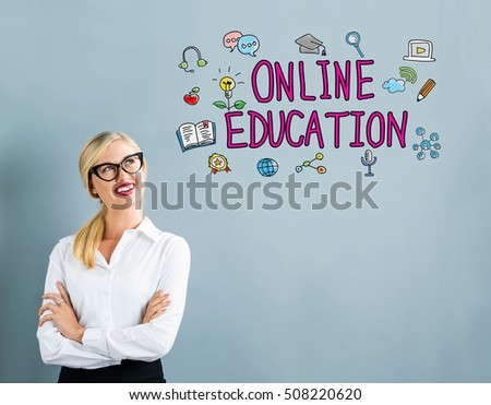 Online Education text with business woman on a gray background #508220620