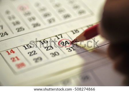 Twenty fourth day of month/ Month Calendar/ Planning mark on the date #508274866