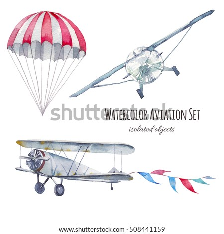 Watercolor aviation set. Hand painted vintage airplanes, flags garland and parachute isolated on white background. Collection of retro transportation and skydiving
