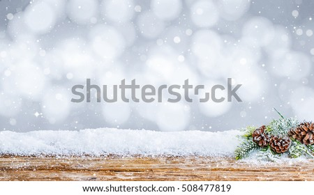 snow background decoration white wooden wood christmas space shine snowflakes branch horizontal table desk copy space nobody xmas concept - stock image
