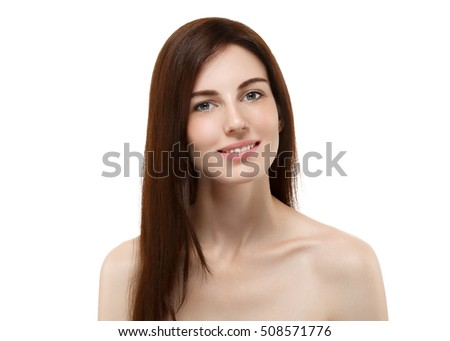 Beauty Woman face Portrait. Beautiful model Girl with Perfect Fresh Clean Skin color lips purple red. Brunette perfect hair Youth and Skin Care Concept. Isolated on a white  #508571776