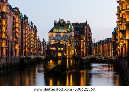 HAMBURG, GERMANY - JUNE 6, 2016: Typical view of the Speicherstadt, also called Hafen City,  in Hamburg on June 6, 2016. Its a popular harbour quarter for tourists in Hamburg. #508621360