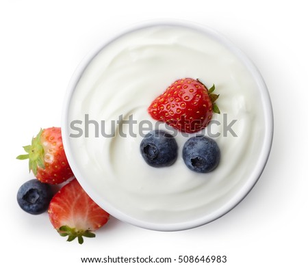 Bowl of greek yogurt and fresh berries isolated on white background from top view #508646983