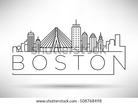 Minimal Boston City Linear Skyline with Typographic Design
