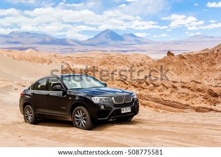ANTOFAGASTA, CHILE - NOVEMBER 15, 2015: Modern black crossover BMW X4 xDrive 2.8i (F26) in the Valle de la Muerte (Mars Valley) in the Atacama Desert. #508775581