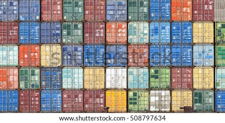 Stack of containers in a harbor Royalty-Free Stock Photo #508797634