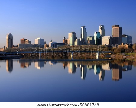 Blue reflection of Minneapolis in Mississippi