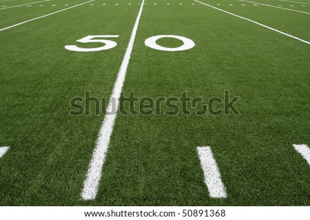 Fifty Yard Line of a Football Field #50891368