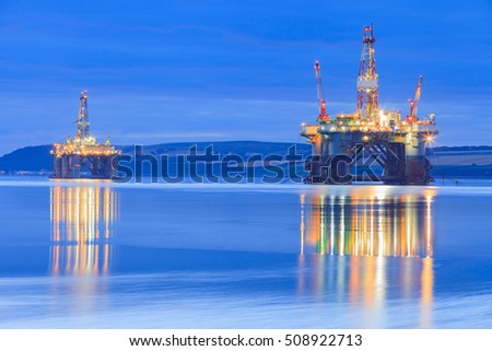 Semi Submersible Oil Rig during Sunrise at Cromarty Firth in Invergordon, Scotland #508922713
