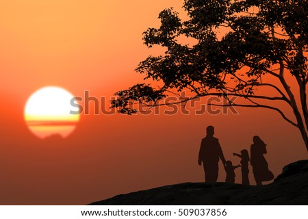 Peace in Middle East,Muslim Family silhouette sunset background blur,Beautiful evening sun,Happy parents of children,Happy family holiday