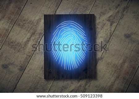 Top view of wooden board with blue fingerprint placed on desktop. Security concept. 3D Rendering #509123398