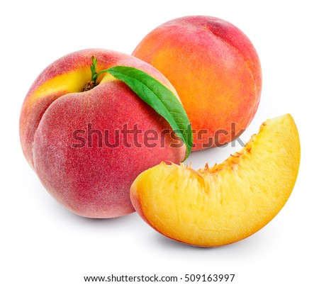 Peach with slice and leaf isolated on white. With clipping path. #509163997