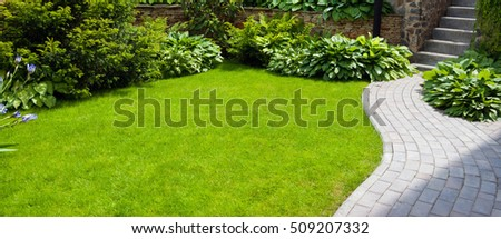 Garden stone path with grass growing up between the stones #509207332
