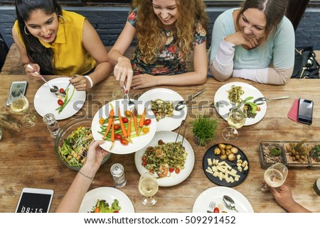Women Communication Dinner Together Concept #509291452