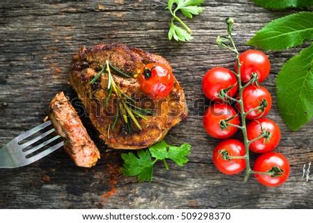 Beef steak with vegetables #509298370