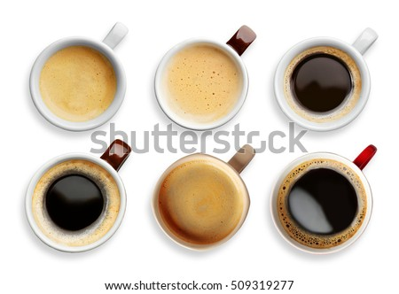 Collage of cups with tasty coffee on white background #509319277