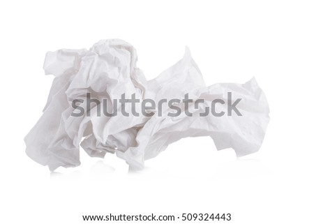 used screwed paper tissue isolated on white background #509324443