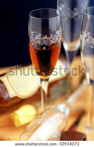 glasses with alcoholic drinks #50934073
