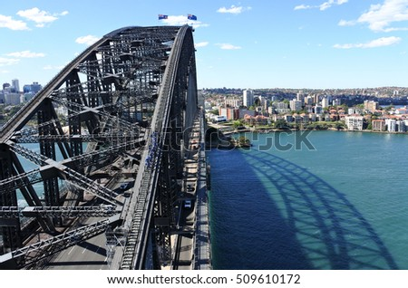 Aerial landscape view of tourist group climbing on Sydney Harbour Bridge as viewed from the south-eastern pylon tourist lookout looking towards North Sydney, New South Wales Australia. Royalty-Free Stock Photo #509610172