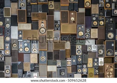 Wall of loudspeakers #509652628