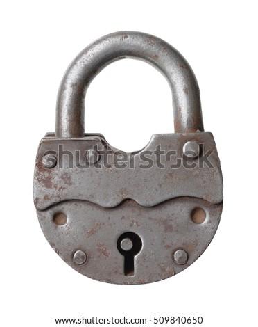 The old big padlock isolated on white background. #509840650