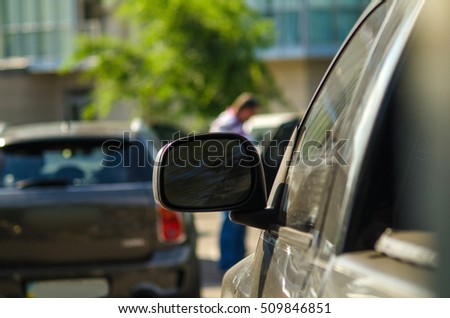 Close up of car mirror on the street #509846851