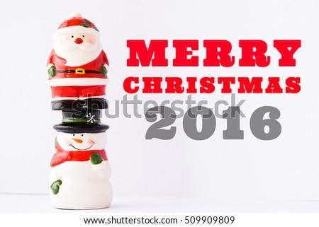 Santa Claus and Snowman.Merry christmas 2016.