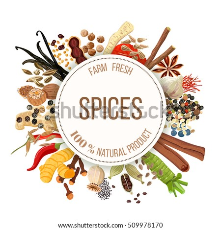 Culinary spices big set with round emblem. Bunch of cooking seasonings. For cosmetics, restaurant, store, market, natural health care products. Can be used as logo design, price tag, label #509978170