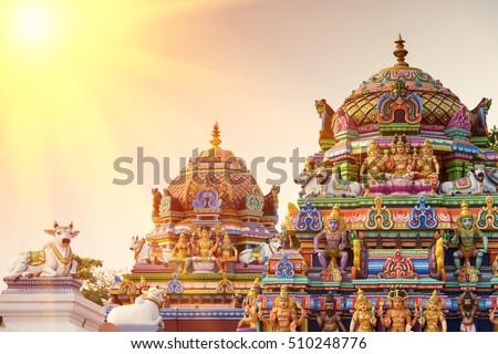Beautiful view of colorful gopura in the Hindu Kapaleeshwarar Temple,chennai, Tamil Nadu, South India Royalty-Free Stock Photo #510248776