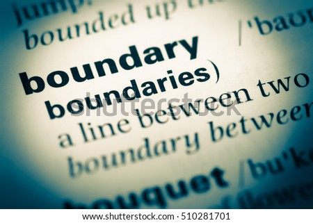 Close up of old English dictionary page with word boundary Royalty-Free Stock Photo #510281701