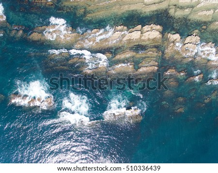 Rocky shore aerial view #510336439