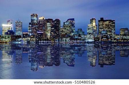 Boston skyline at dusk.