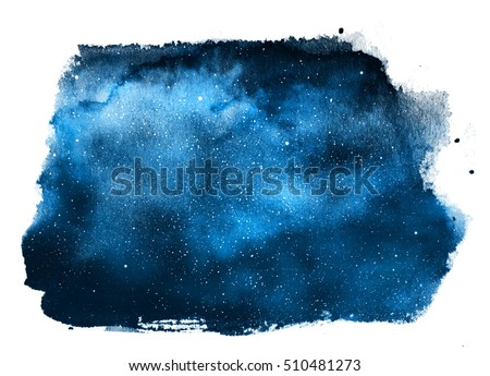 Night sky with stars isolated on white. Watercolor