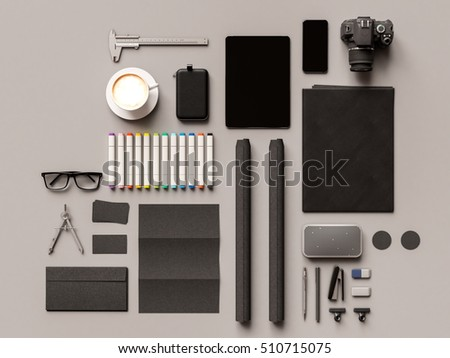 Branding stationery mockup scene. 3D illustration. High quality #510715075