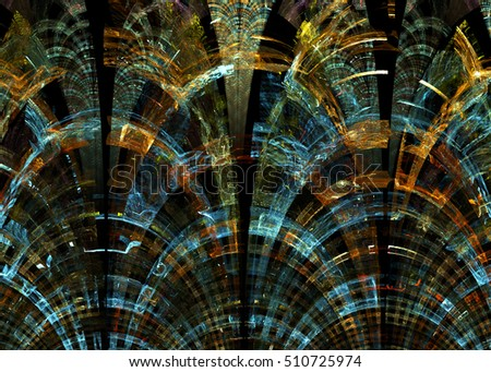 Fractal Elegant Stained Glass Ornament  Background -  Fractal Art #510725974