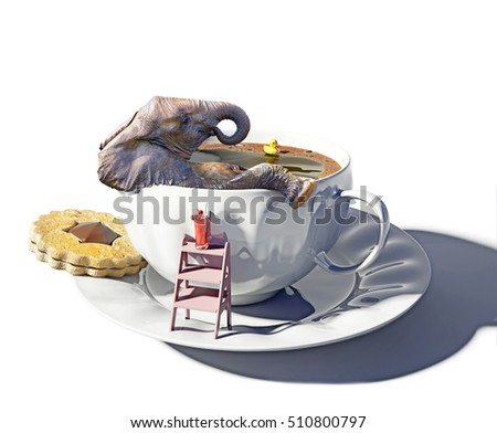 the cup of tea as the bathtub and elephant inside. Photo combination concept