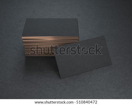 Black and gold blank business cards mockup on black background, 3d rendering