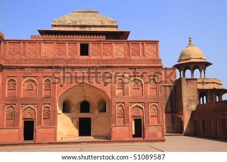 The Agra Fort is a UNESCO World Heritage site located in Agra, India #51089587