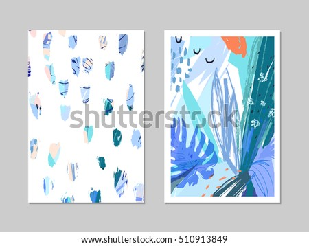 Set of creative universal floral cards in tropical style. Hand Drawn textures. Wedding, anniversary, birthday, Valentin's day, party invitations. Vector. Isolated. #510913849