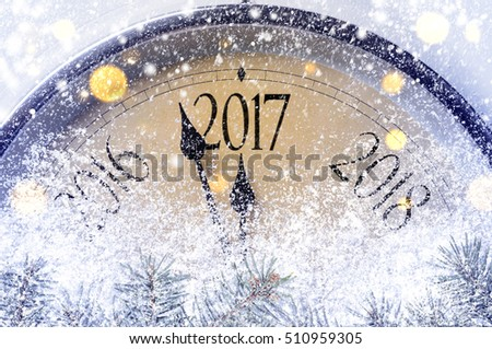 Countdown to midnight. Retro style clock counting last moments before Christmas or New Year 2017. #510959305