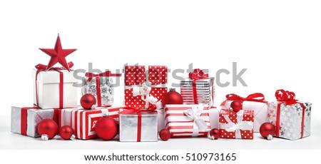 Christmas gift boxes on white background Royalty-Free Stock Photo #510973165
