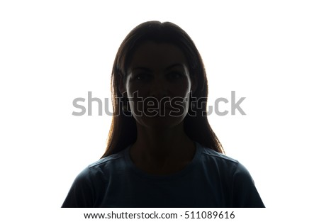 Young woman look ahead with flowing hair - horizontal silhouette of a front view #511089616