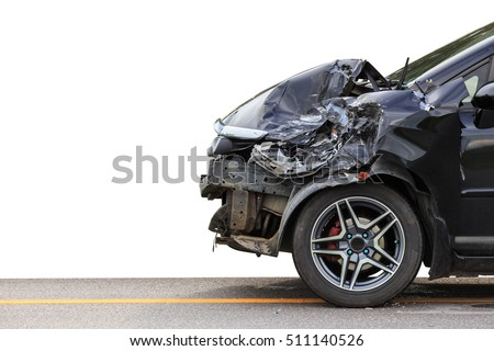 Front of black car get damaged by accident on the road. Isolated on white background. Saved with clipping path #511140526
