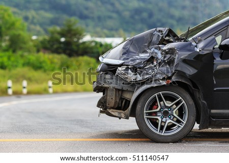 Front of black car get damaged by accident on the road #511140547
