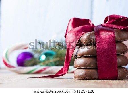 Holidays, christmas, winter, food concept. Gingerbread close up #511217128