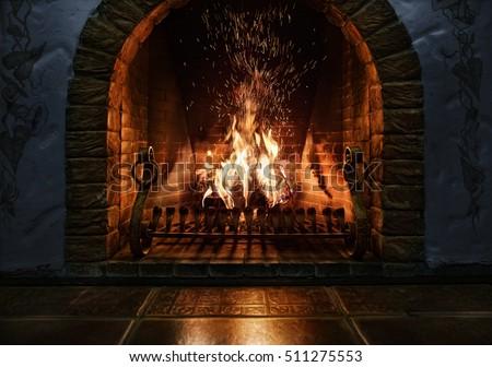 Christmas backgrounds. Magic burning fireplace.